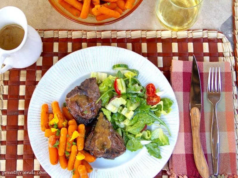 grilled lamb chops and orange glazed carrots