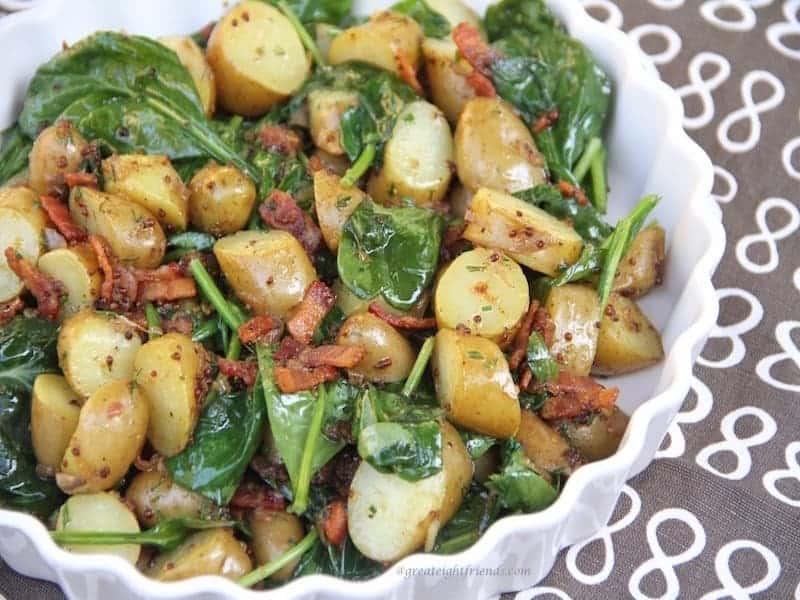 Warm Spinach Potato Salad with Bacon Vinaigrette.