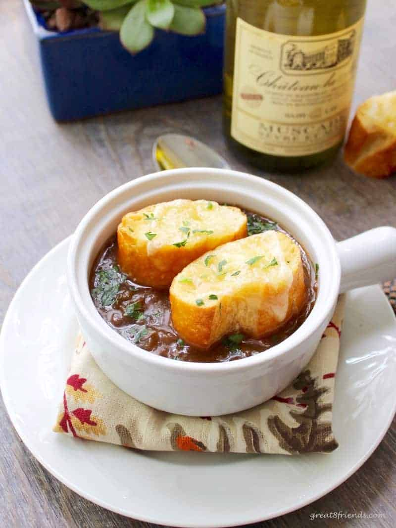 French Onion Soup in a white ceramic bowl.