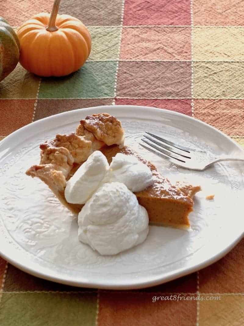 This Perfectly Perfect Pumpkin Pie goes together quickly and is the perfect fall and holiday dessert. I made it in less than an hour!