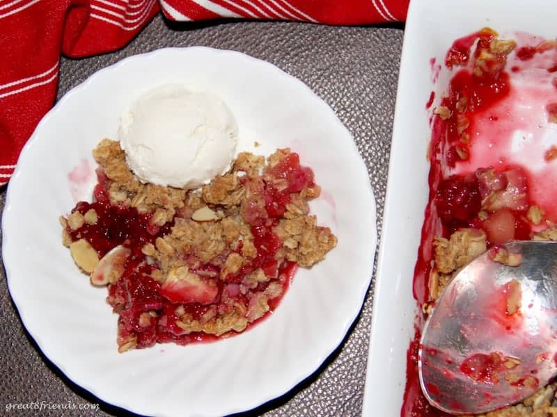 Enjoy this Apple Blackberry Crisp any time of the year. The fresh fruit and the slightly sweet and crispy streusel topping is the perfect dessert.