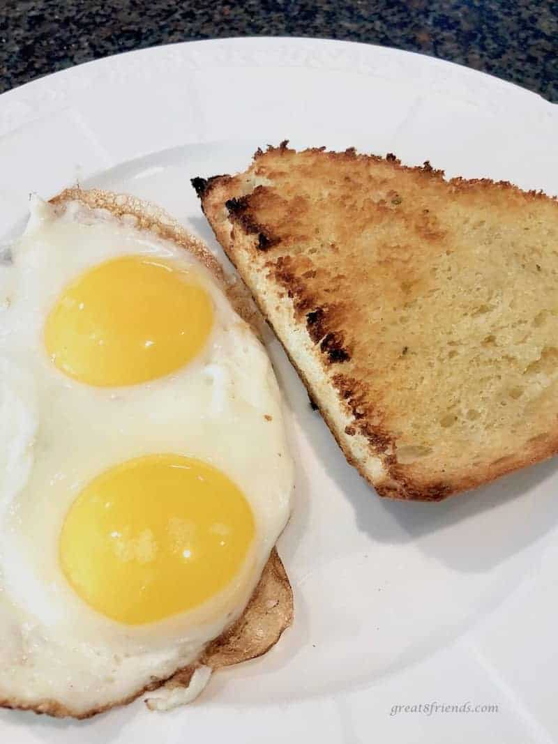 Toasted Onion Thyme Focaccia Bread with fried eggs