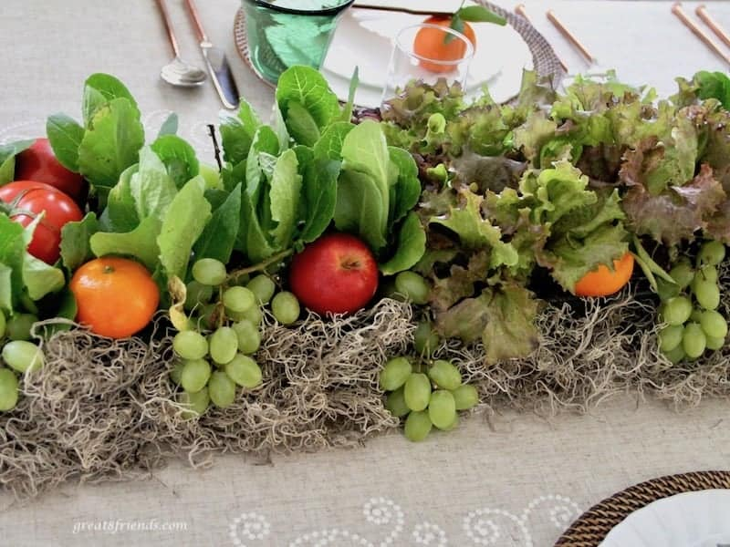 centerpiece using live lettuce and fresh fruit
