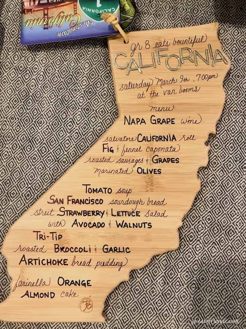 California Cuisine menu on a wooden cutting board