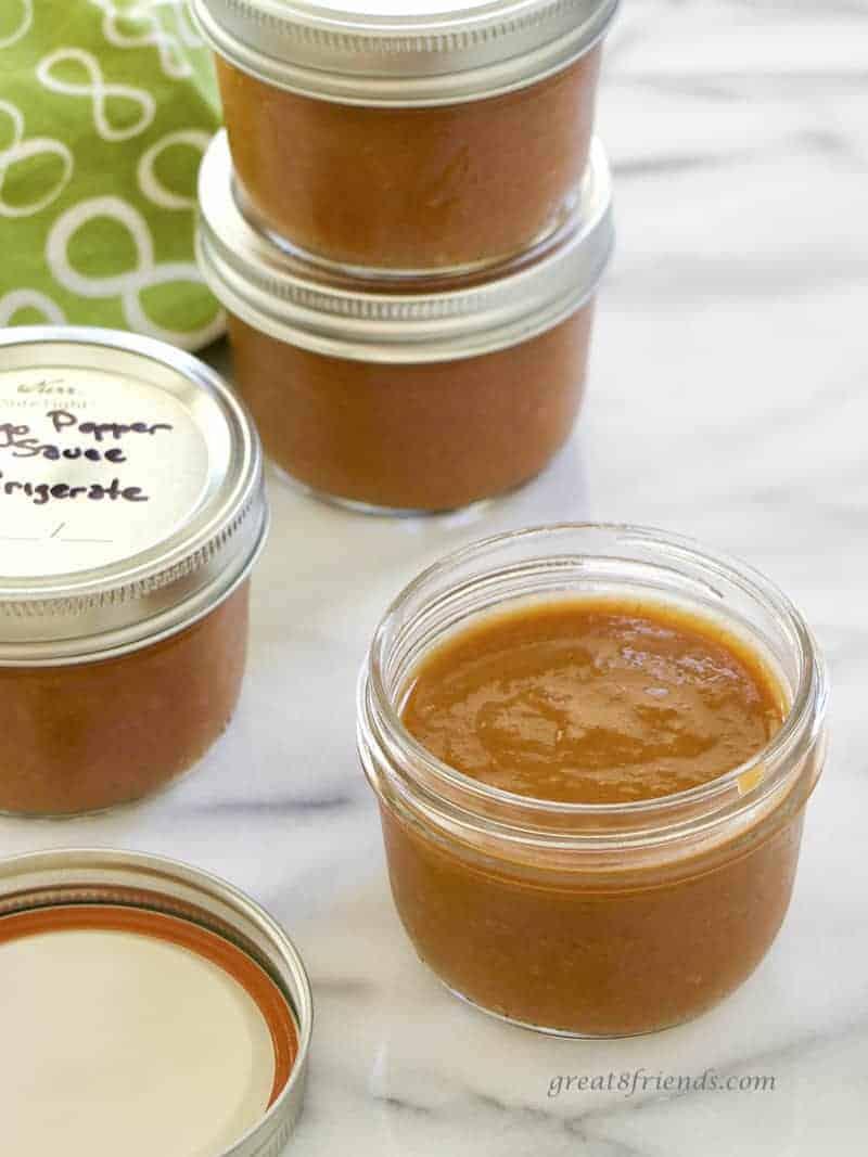 Mango Pepper Sauce in jars.