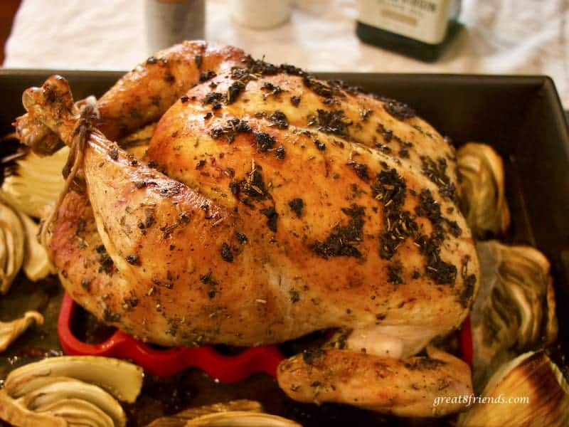 Whole roast Chicken in roasting pan from the side.
