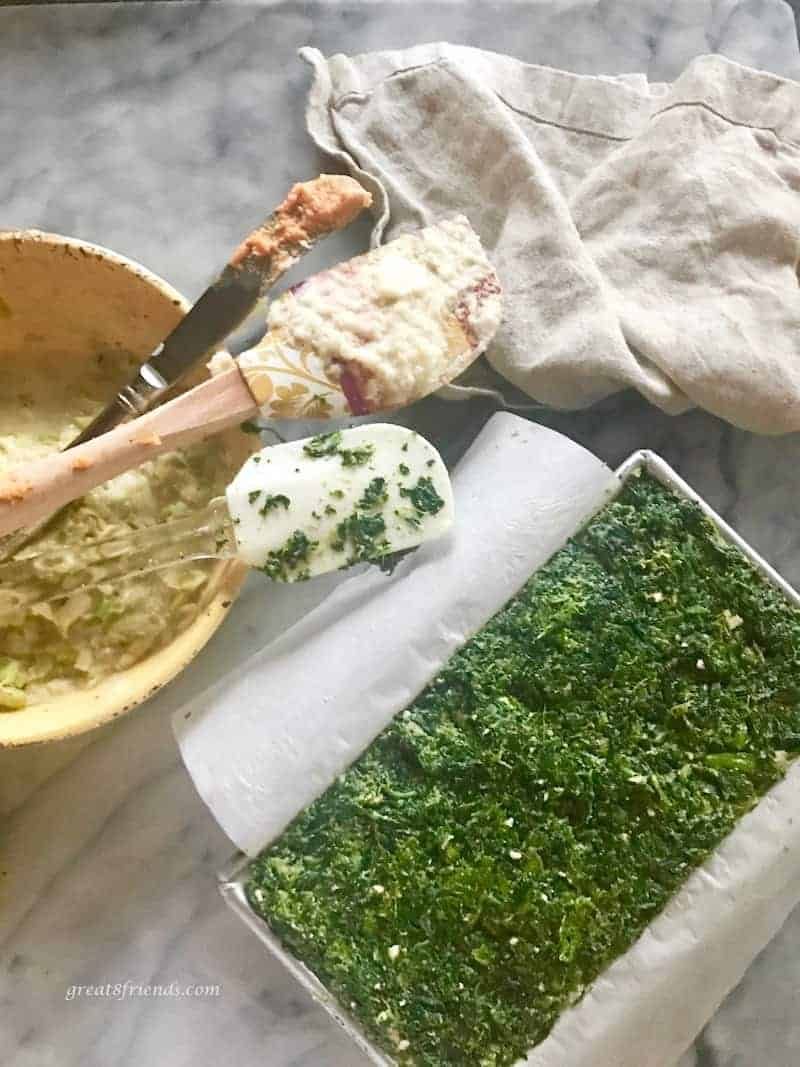 layering Vegetable pâté ingredients