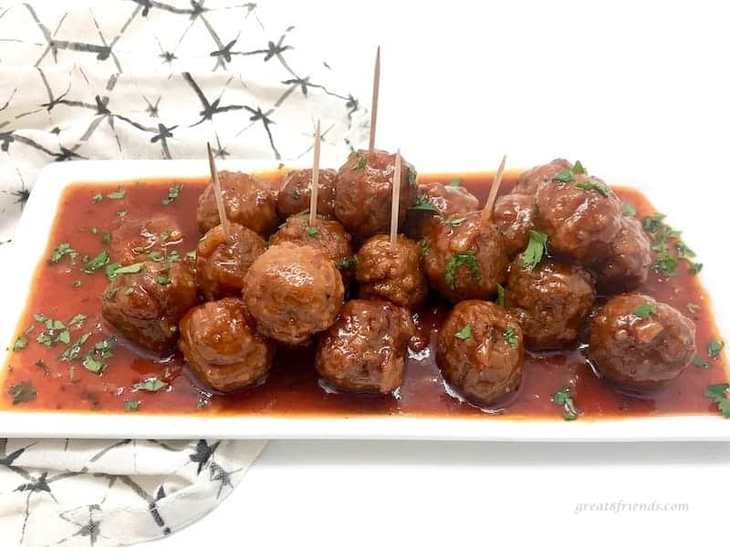 Plate of Hawaiian Meatballs.