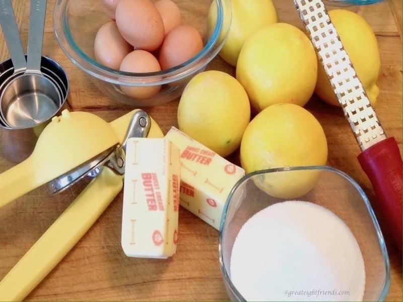 Lemons, butter, sugar, eggs
