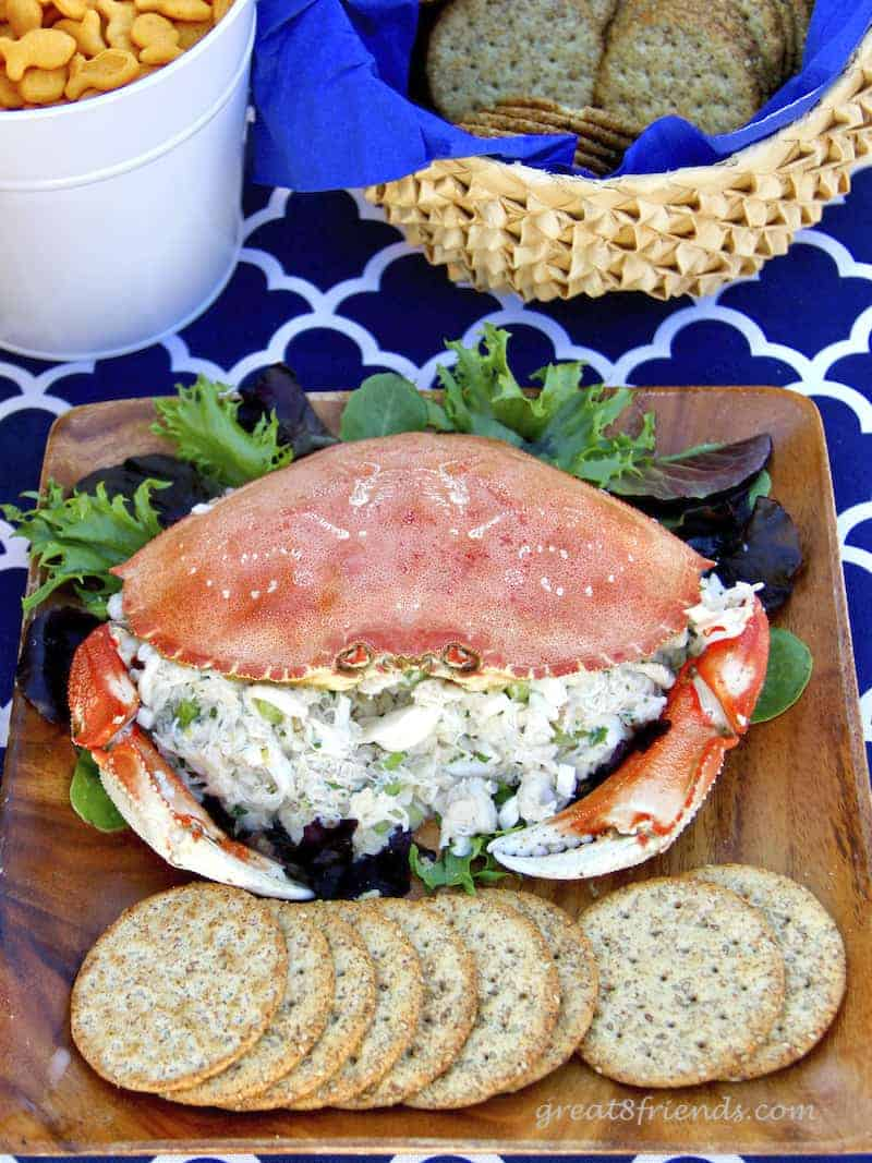 Crab Salad in a crab shell.
