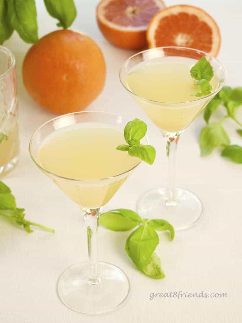 2 glasses of Grapefruit Basil Martini