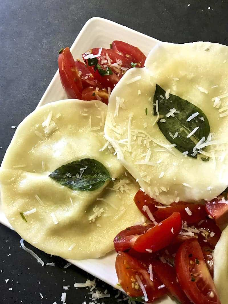Close up of Mushroom and Ricotta Ravioli.