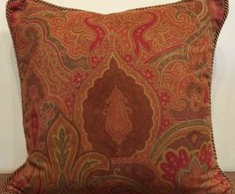 Red Paisley Decorative Pillow