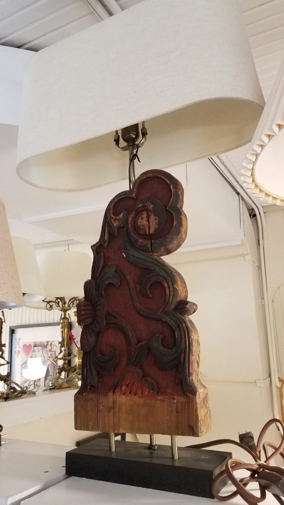 Tibetan Painted Wood Architectural Remnant Lamp