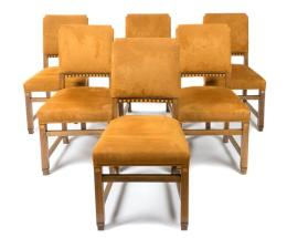 Set of Six Continental Art Deco Inlaid Dining Chairs
