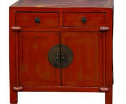 Chinese Painted Wood Nightstand