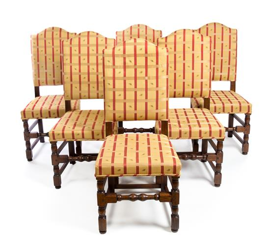 Set Of Six William And Mary Style Oak Dining Chairs