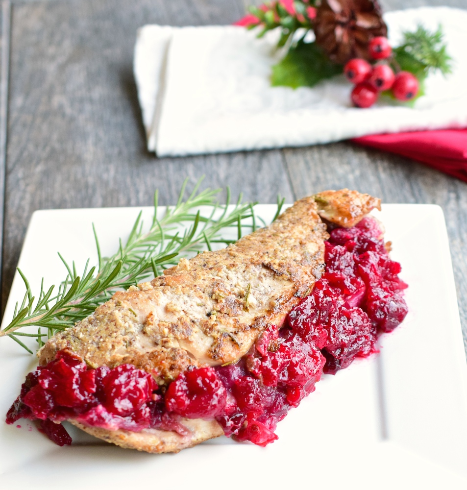 Hazelnut Crusted, Cranberry Stuffed Turkey Tenders