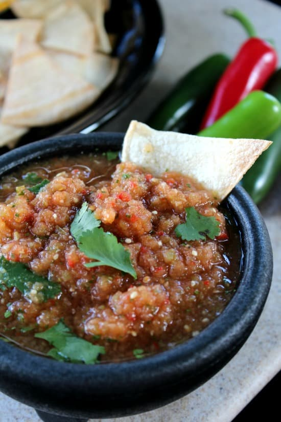 Spicy Salsa with Baked Corn Chips