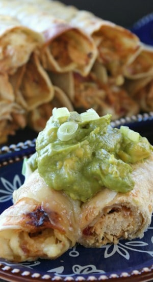 Crock Pot Green Chile Enchilada Chicken Flautas