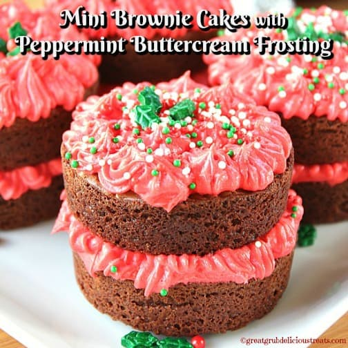 Mini Brownie Cakes with Peppermint Buttercream Frosting
