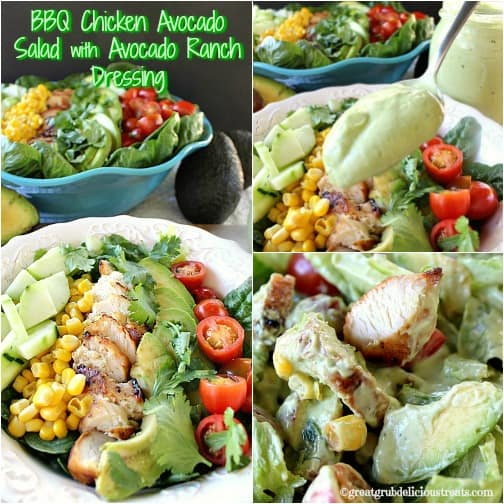 BBQ Chicken Avocado Salad with Avocado Ranch Dressing