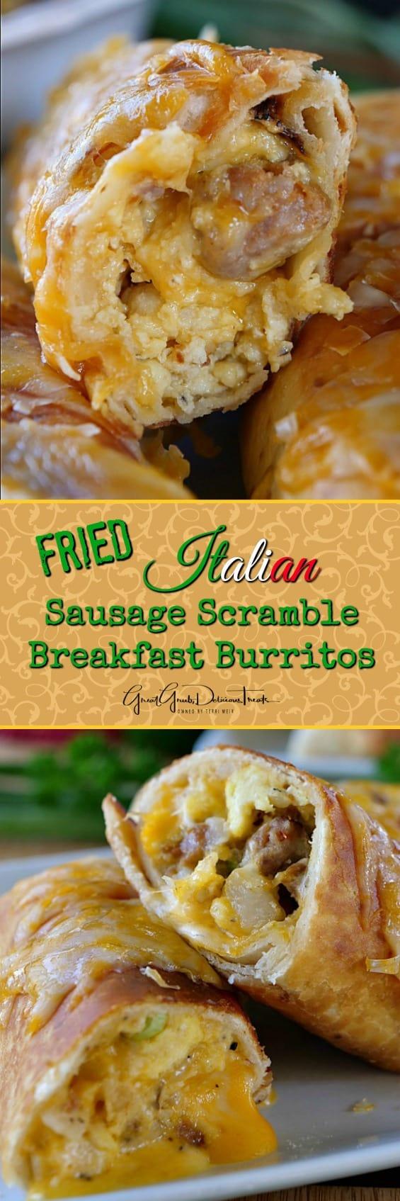 Fried Italian Sausage Scramble Breakfast Burritos