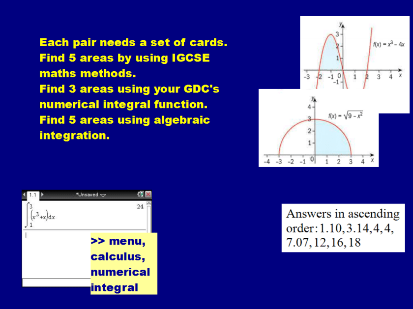 numerical integrals cards
