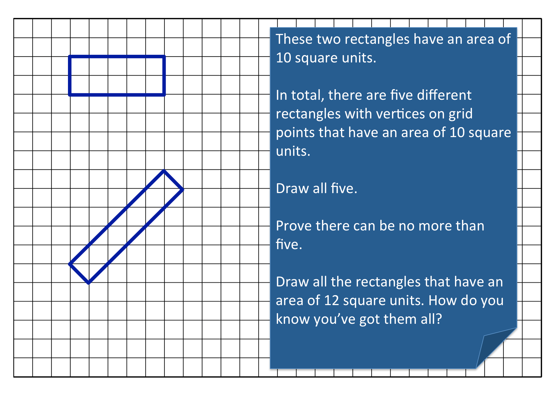 Proof Of Rectangle Areas On Square Grid Using Surds