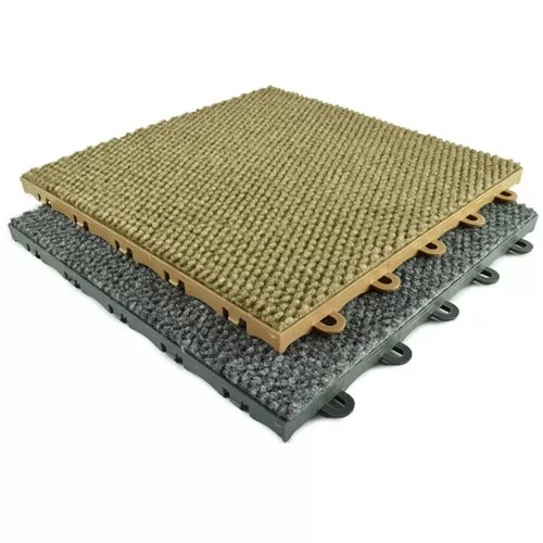 put floating carpet tiles over tile