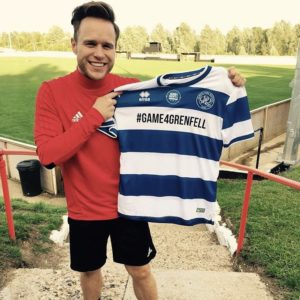 Olly Murs (singer) with his QPR Grenfell shirt