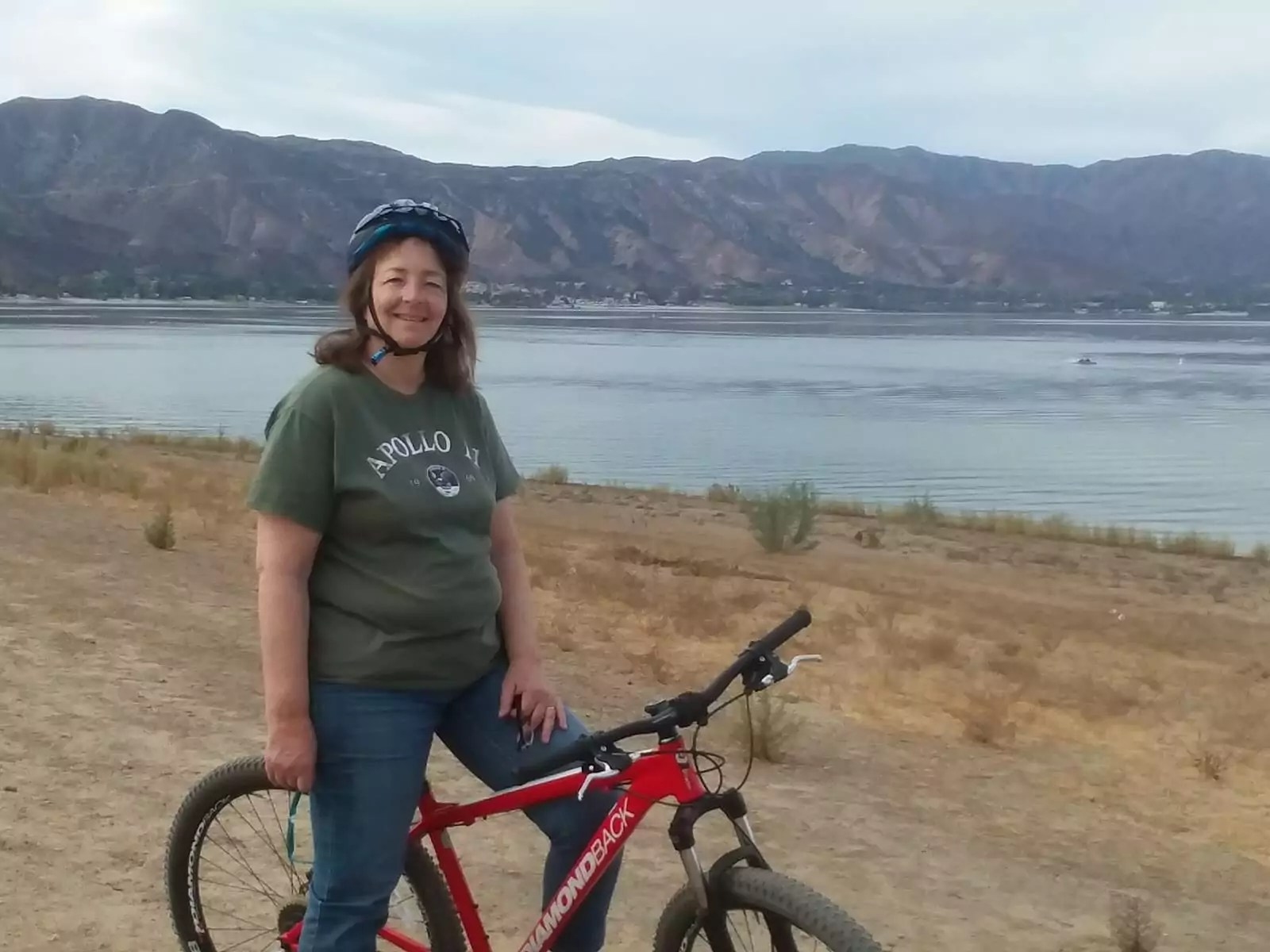 Margaret on a bike ride on the Lake Elsinore Levee