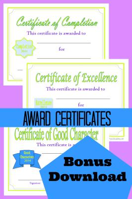 Bonus Downloads Award Certificates