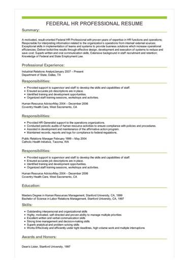 Sample Federal Hr Professional Resume