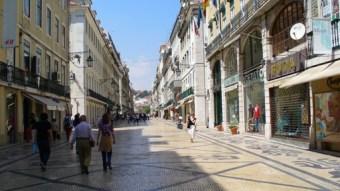 Designer shops along a street in Lisbon, Portugal