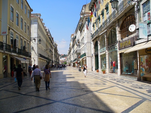 Designer shops along a street in Lisbon, Portugal