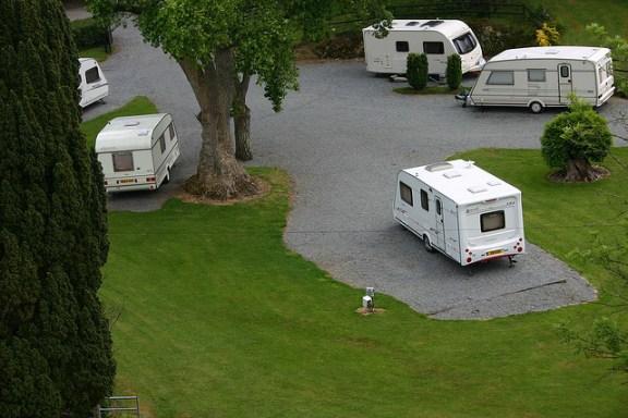 Touring caravans on site