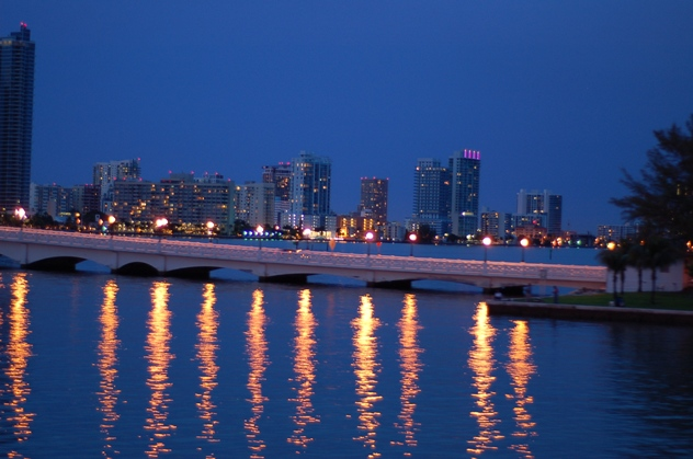 Illuminated coast of Miami at night