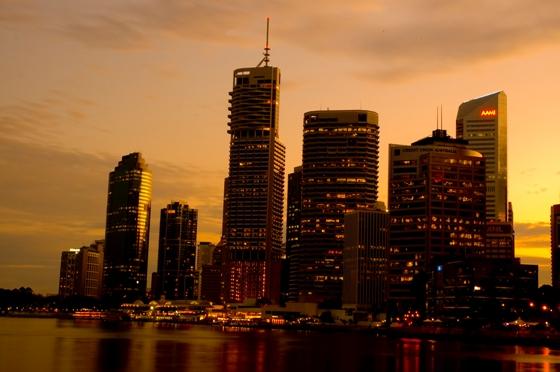 Brisbane skyline in the sunset