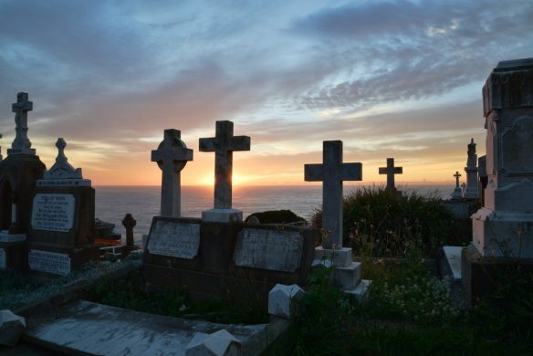 peaceful graveyard at sunrise