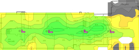Signal strength map of second floor APs on first floor