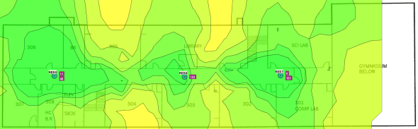 Signal strength map for second floor - 5 GHz - validation survey