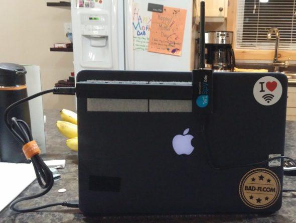 MacBook with USB hub on velcro