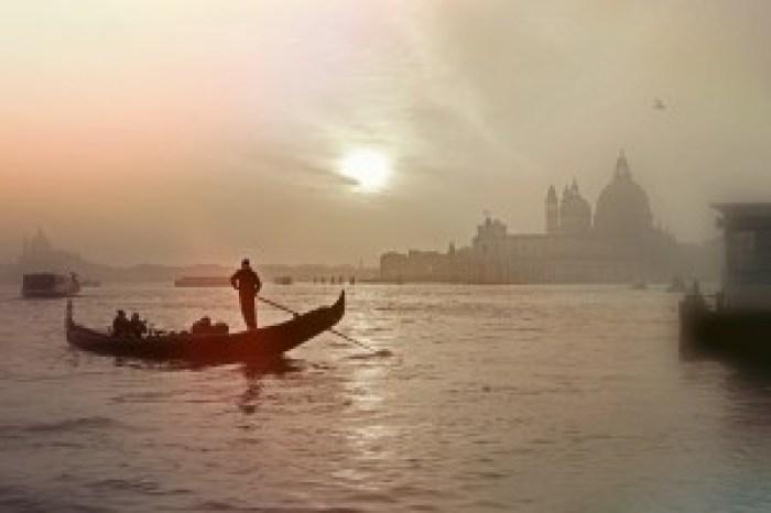 Venecija, vakaras, Italija, Gondola