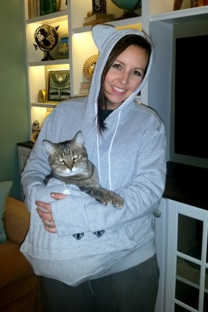 cat snuggle hoodie