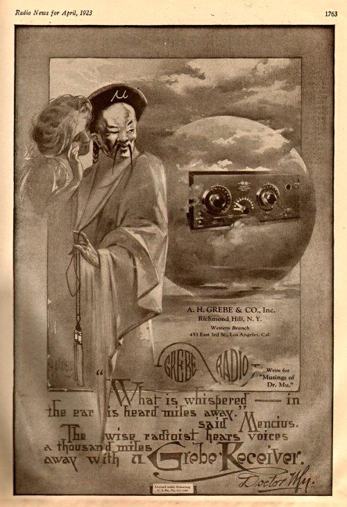 Grebe CR-9 Radio Ad, Radio News, April 1923