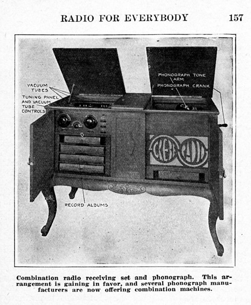 Grebe Radio and phonograph combination.  Radio for everybody.
