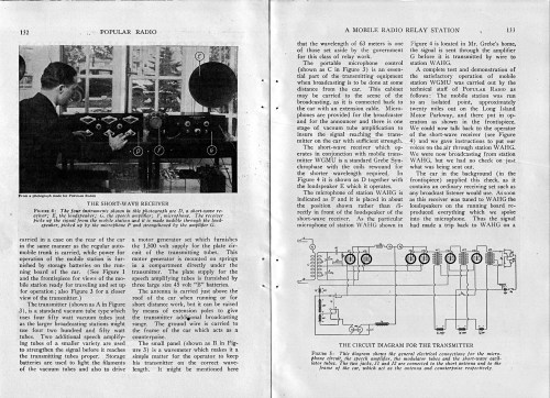 A Mobile Radio Relay Station, Popular Radio, August 1924, pages 132, 133