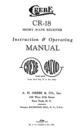 Grebe CR-18 Instruction Manual