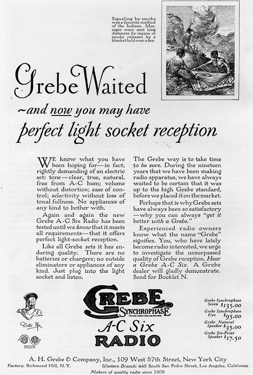 Grebe Waited radio print advertisement